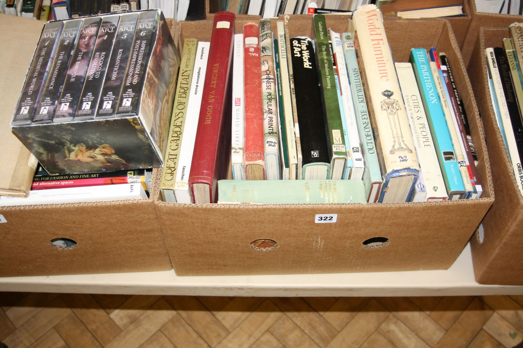 Lot 322 - A TRAY CONTAINING APPROXIMATELY TWENTY FIVE BOOKS AND A BOXSET OF VIDEOS, on Art and Artists