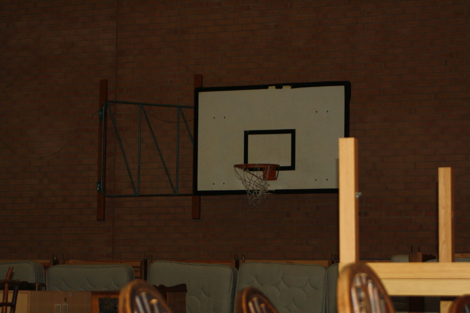 Lot 249 - TWO BASKETBALL BACKBORDS AND RING WALL MOUNTED, (to be removed by buyer adhering to Health and