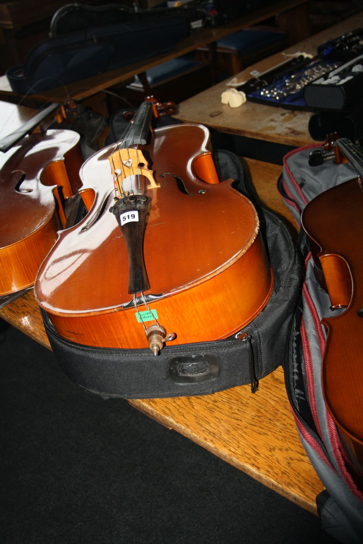 Lot 519 - A MICHAEL POLLER 3/4 SIZE CELLO, with bow and padded case