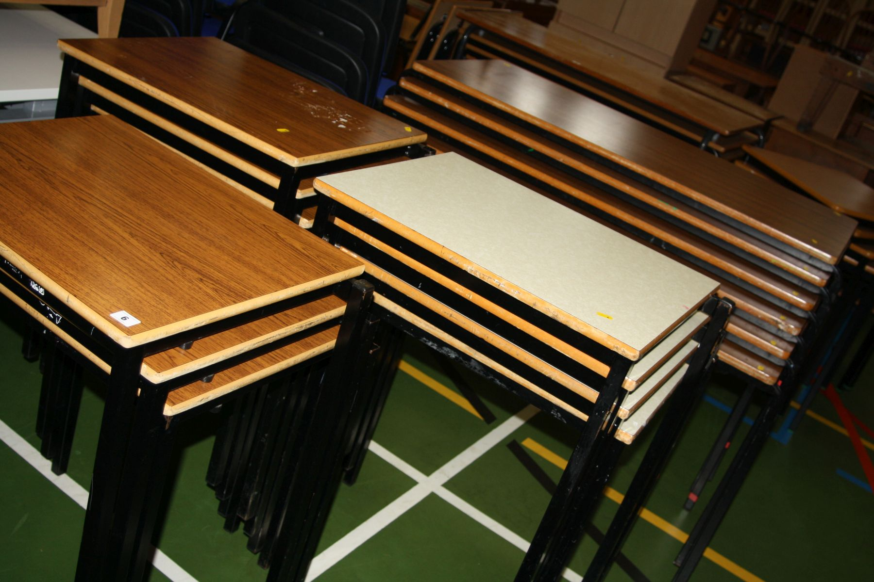 Lot 6 - SEVENTEEN STACKING TABLE, including seven with tops 60x46cm, six with similar tops 119x59cm and four