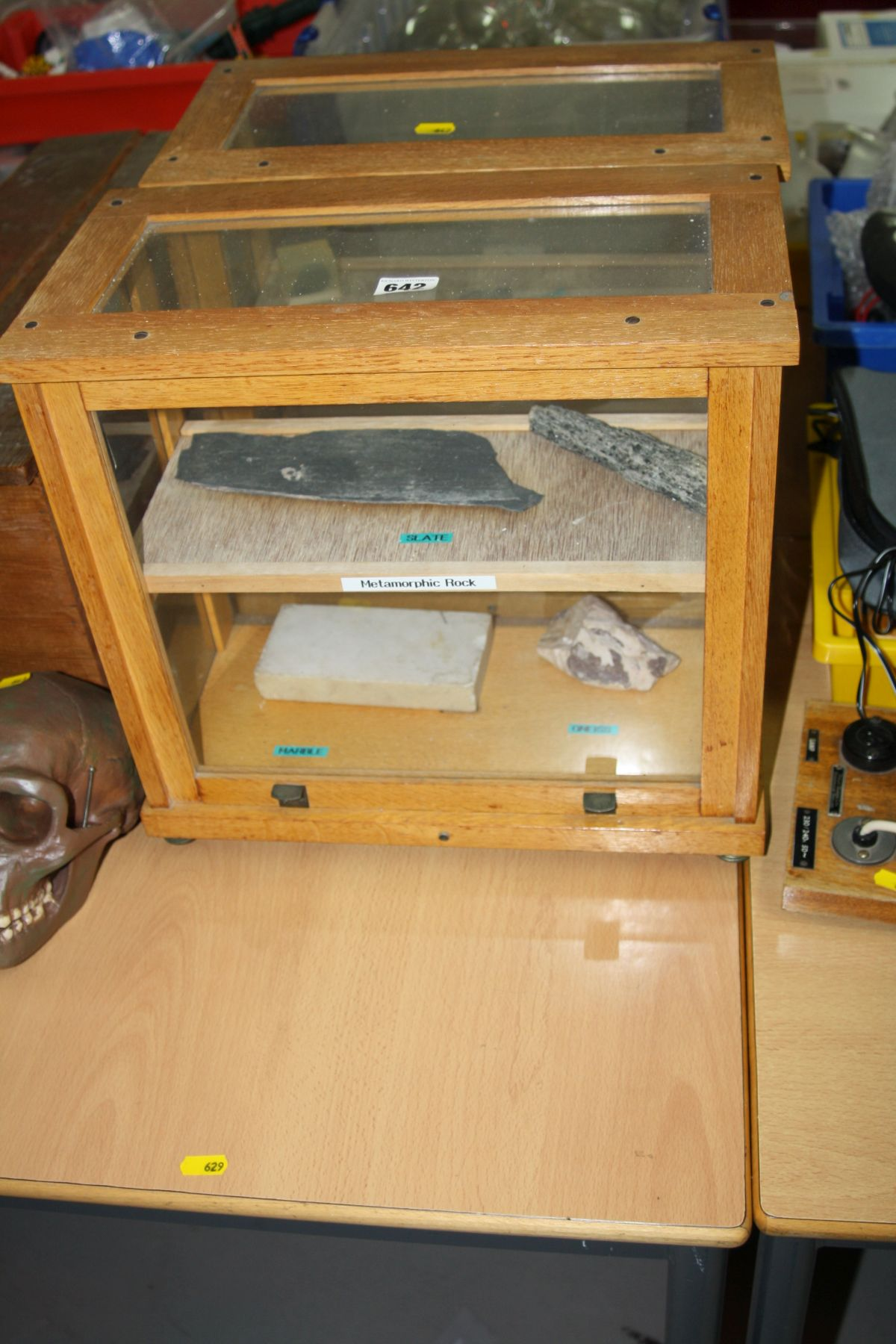 Lot 642 - TWO DISPLAY CASES OF GEOLOGICAL SPECIMENS, including metal ores, cases width 39.5cm x depth 20.5cm x
