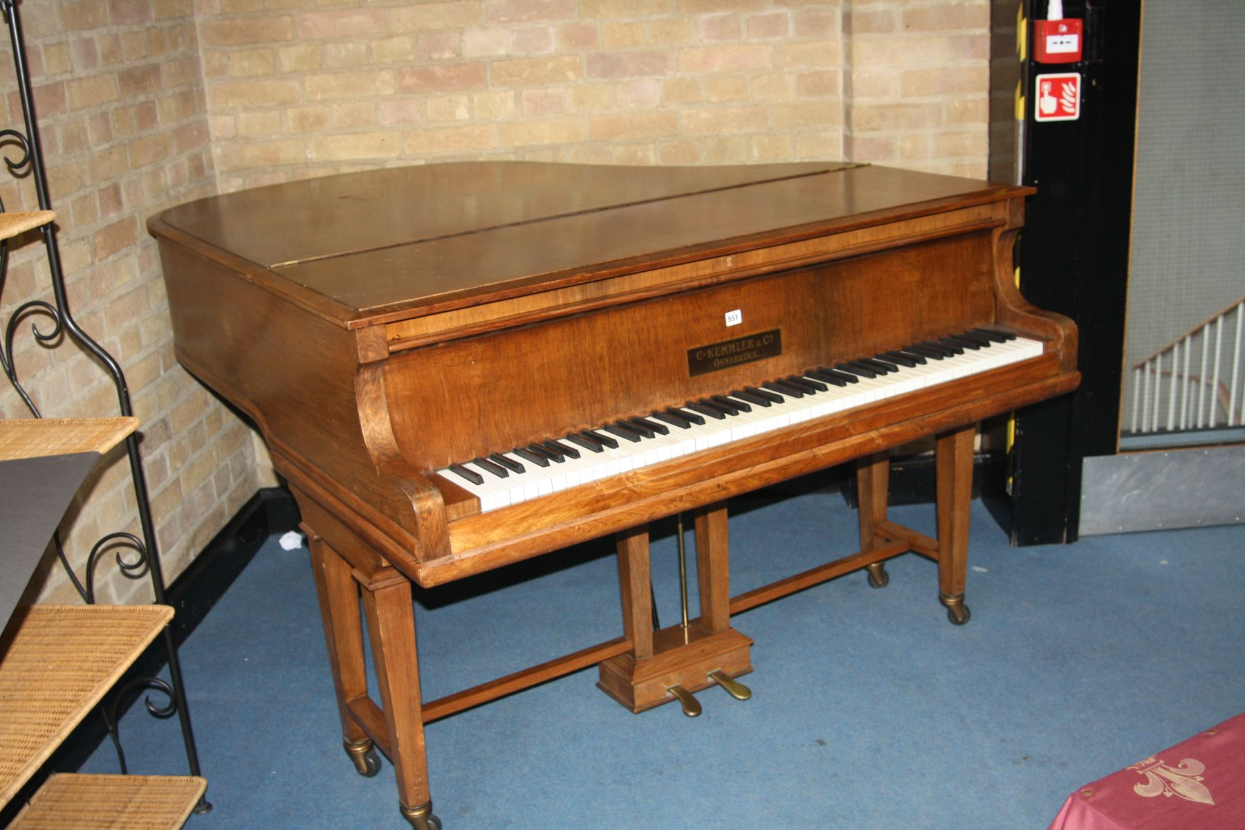 Lot 551 - A C. KEMMLER & CO OF OSNABRUCK BABY GRAND PIANO, in a walnut case with a pine stool, 141cm wide