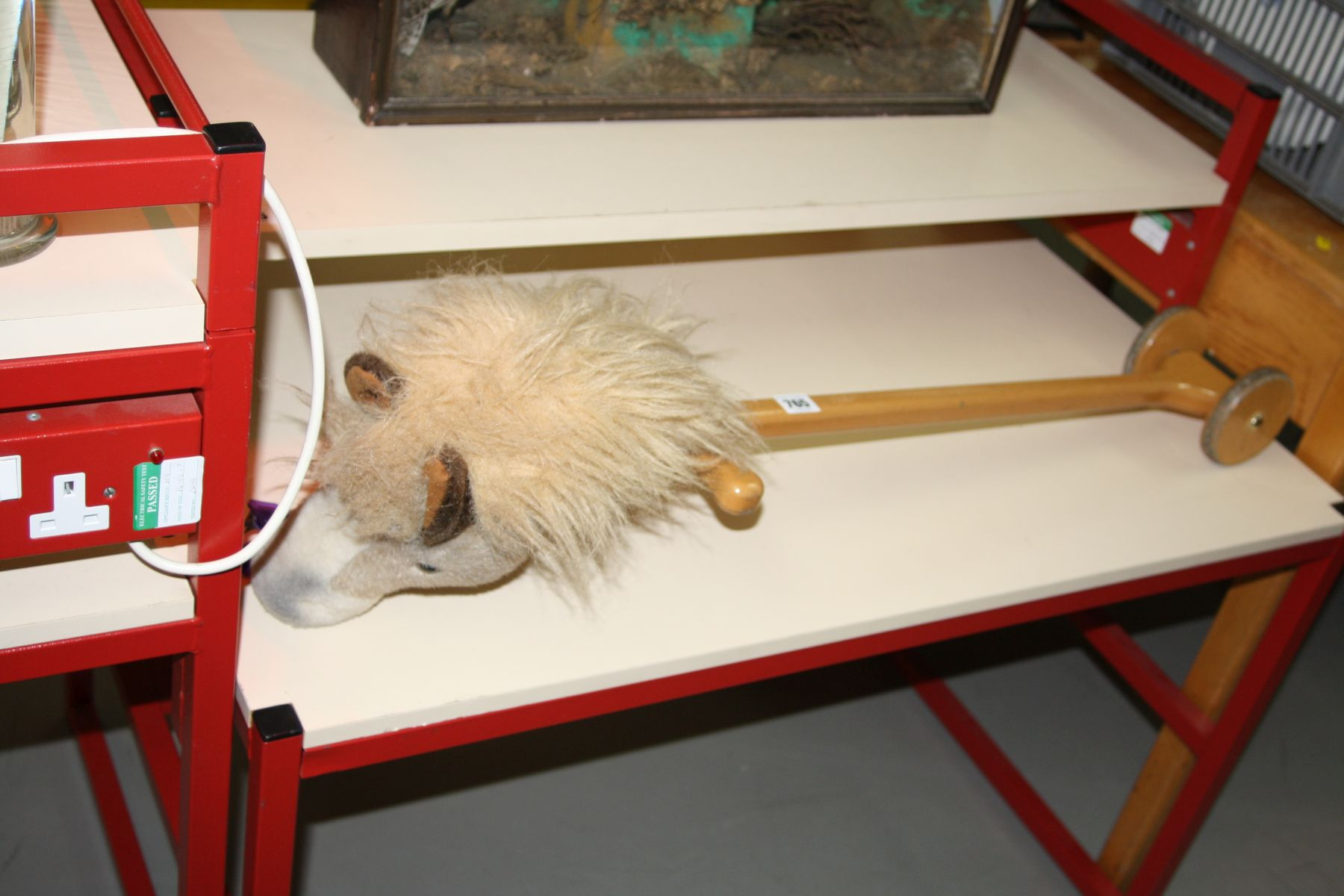 Lot 765 - A MODERN MERRYTHOUGHT WOODEN AND PLUSH HOBBY HORSE