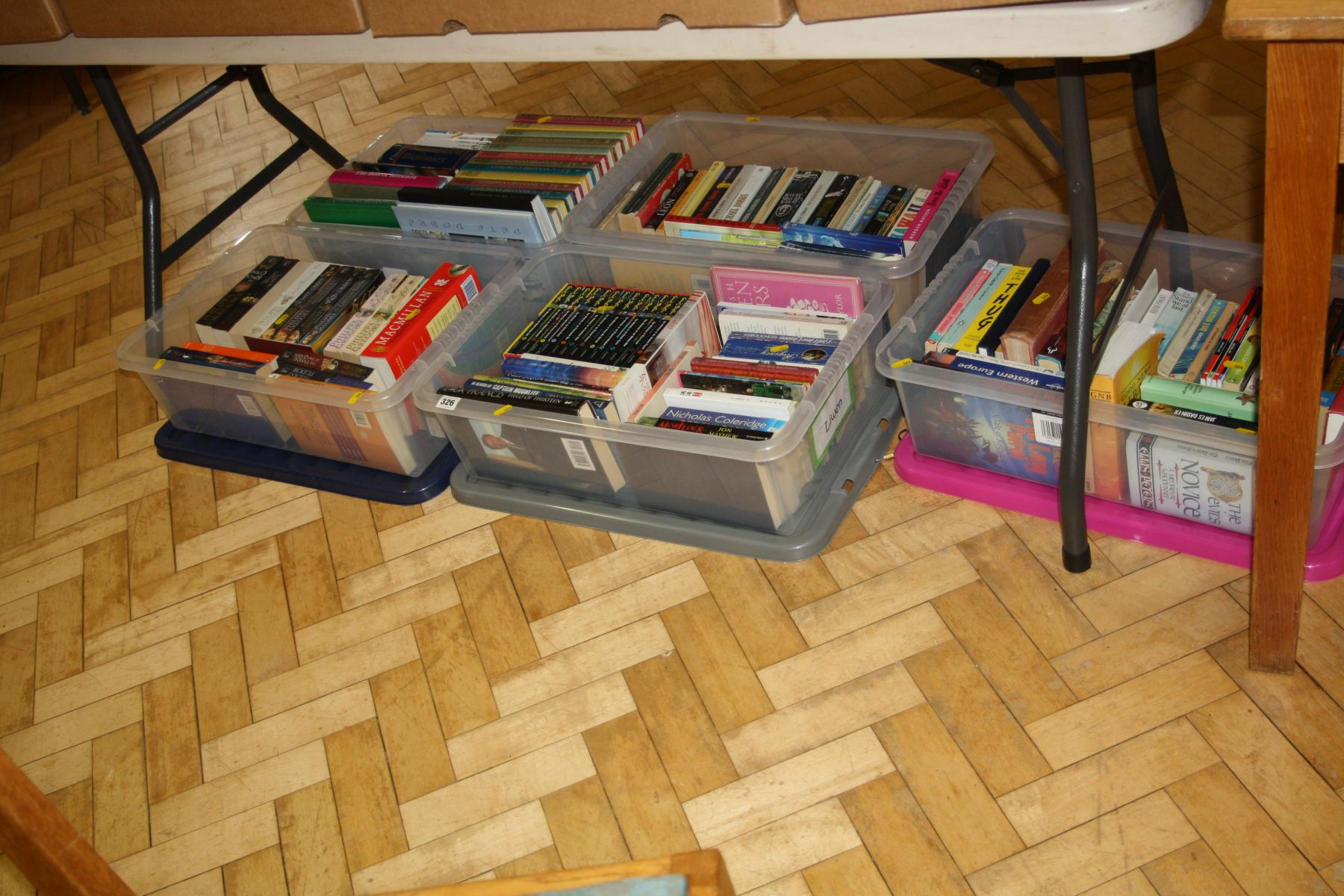 Lot 326 - FIVE PLASTIC BOXES ON FICTION AND REFERENCE BOOKS, including Enid Blyton, Philippa Gregory, etc