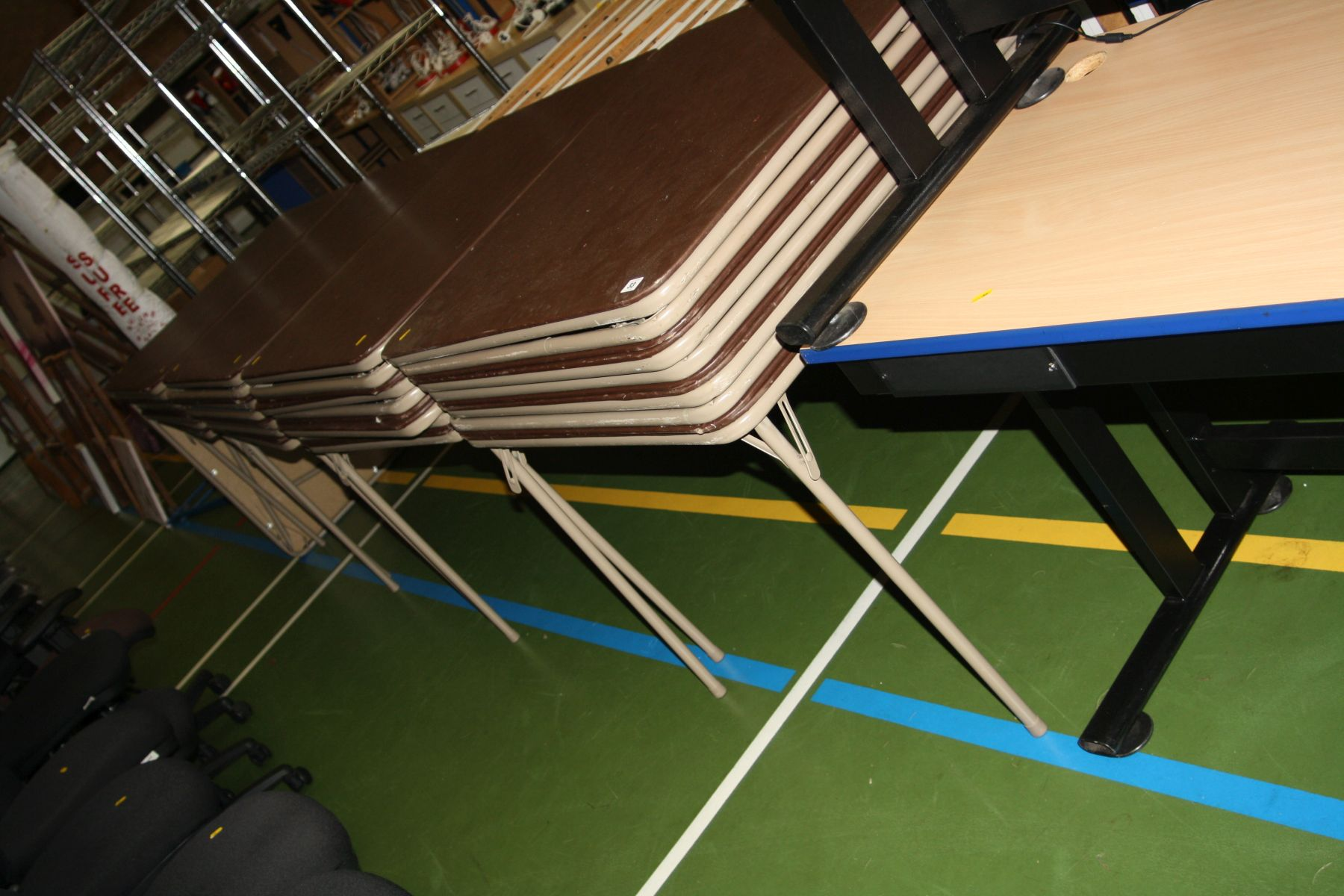 Lot 33 - TWENTY NINE FOLDING 'EXAM' TABLES AND TWO OTHER TABLES, the folding tables are 86x86x71cm high
