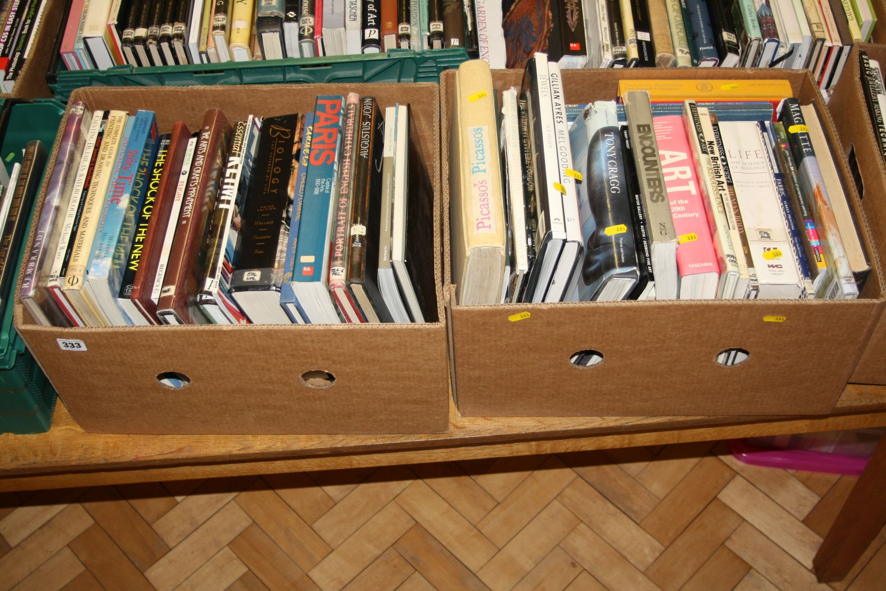 Lot 333 - TWO TRAYS OF BOOKS, on Art, Artists and Science