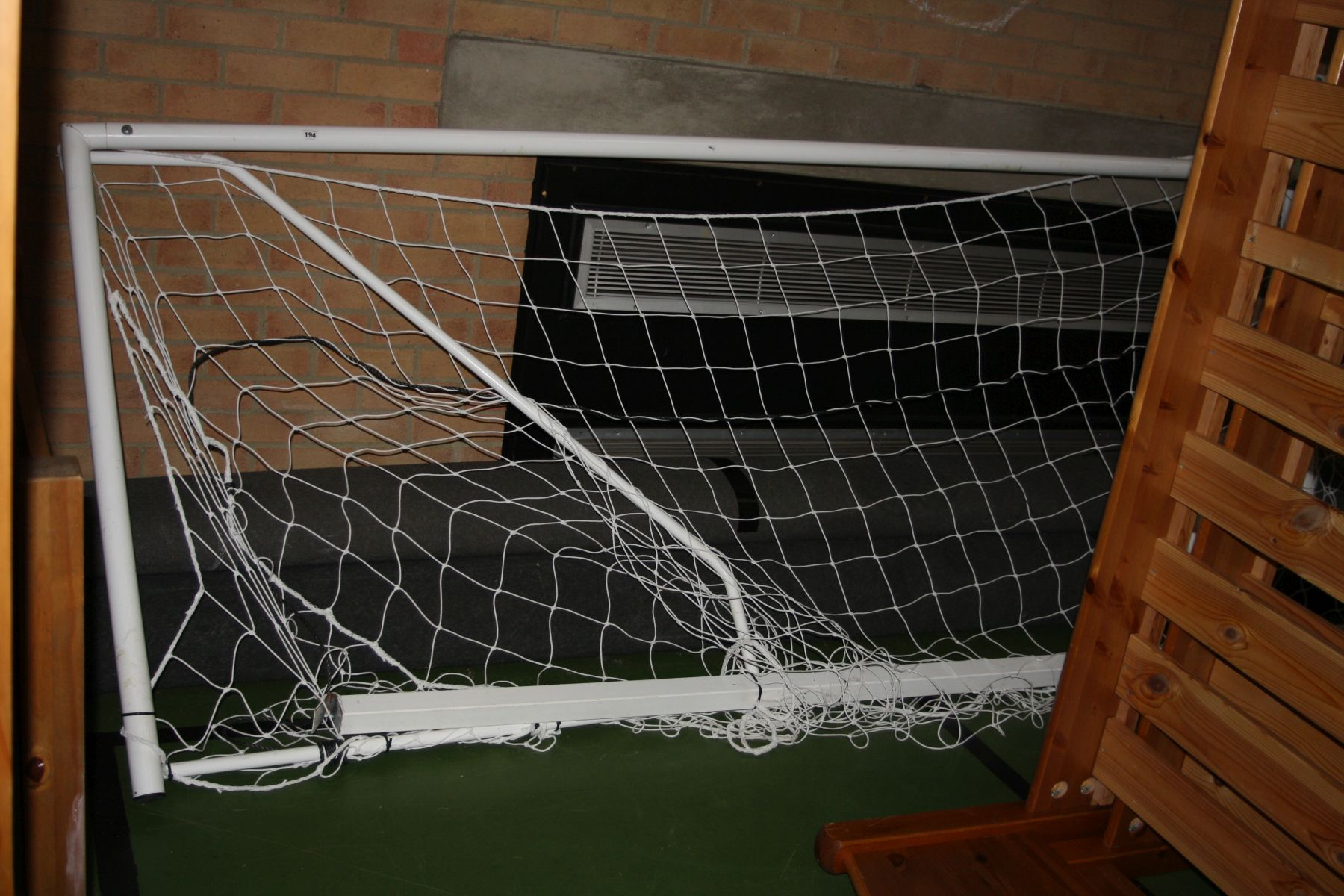 Lot 194 - A PAIR OF FOLDING WHITE PAINTED FIVE A SIDE FOOTBALL GOAL POSTS AND NETS, 370x128cm high