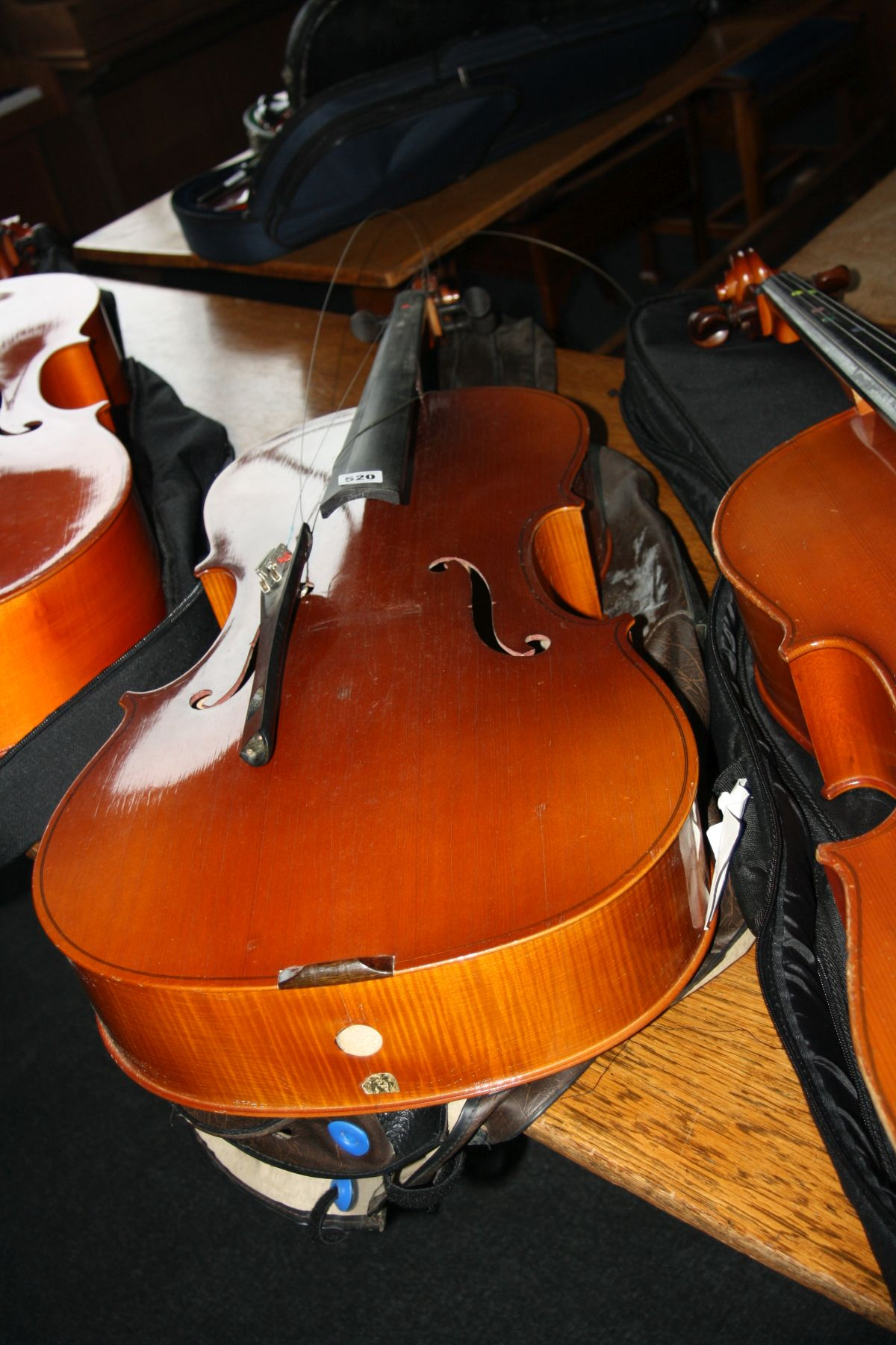 Lot 520 - A GERMAN MADE 3/4 SIZE CELLO, with bow and soft case (missing tailpiece and spike)