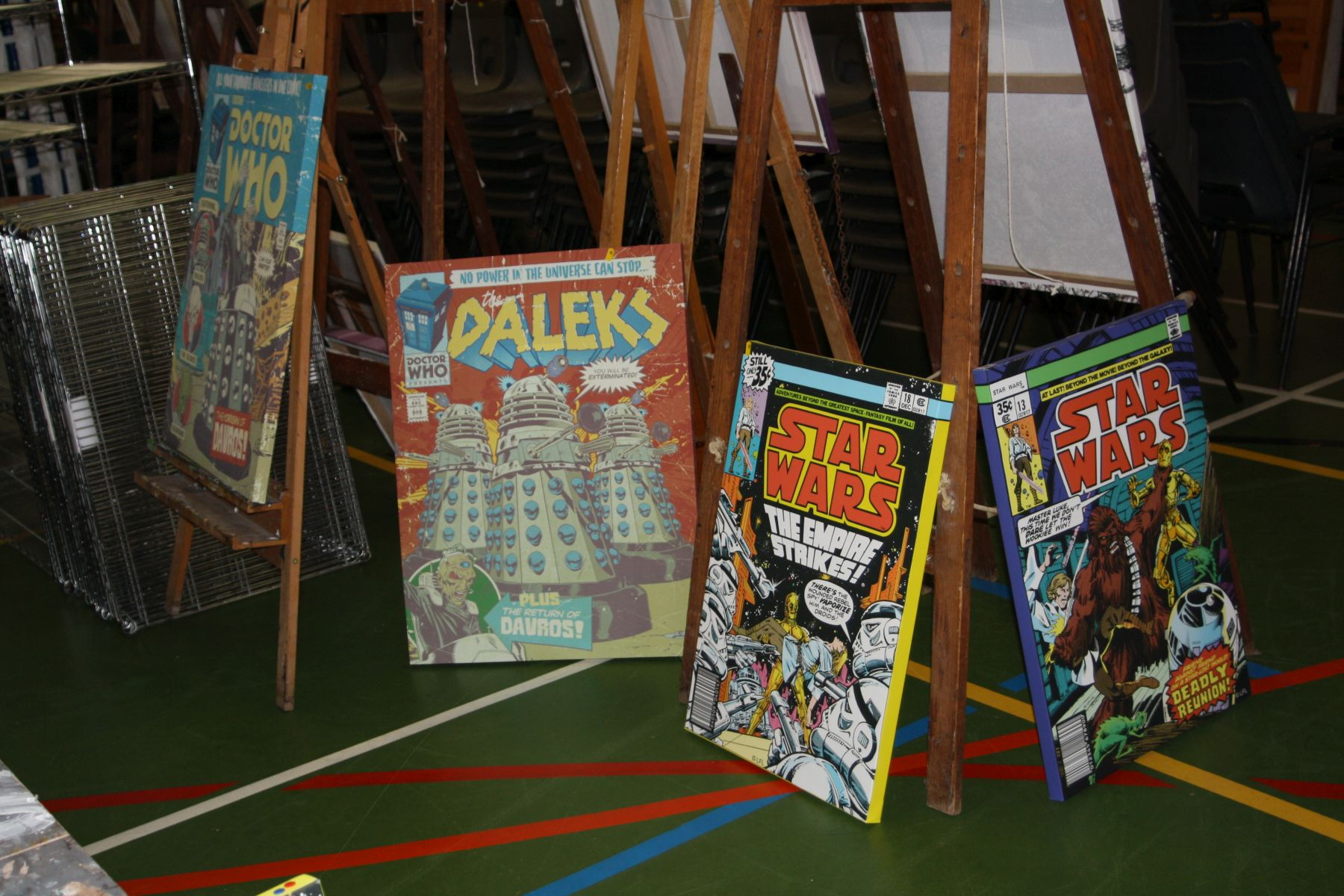 Lot 38 - TWO STAR WARS AND TWO DR WHO CANVAS PRINTS, these are all prints from comic front covers, the two