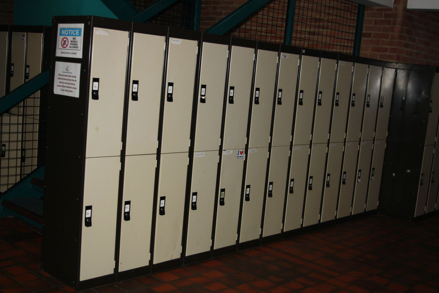 Lot 258 - THIRTEEN DOUBLE METAL LOCKERS, connected as a ten and a three (twenty six lockers), 360x45x170cm (
