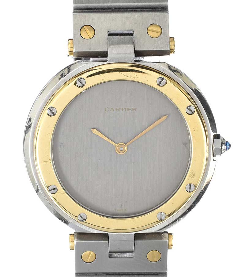 Lot 124 - CARTIER 'RONDE' STAINLESS STEEL AND 18CT GOLD UNISEX WRIST WATCH