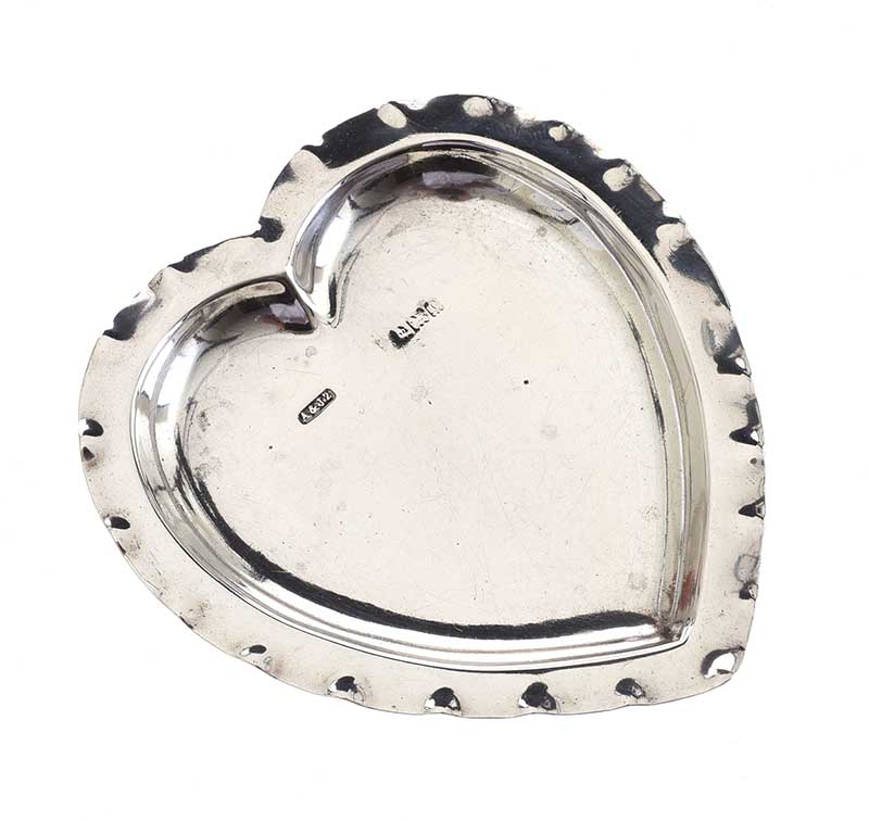 Lot 19 - STERLING SILVER HEART-SHAPED PIN TRAY