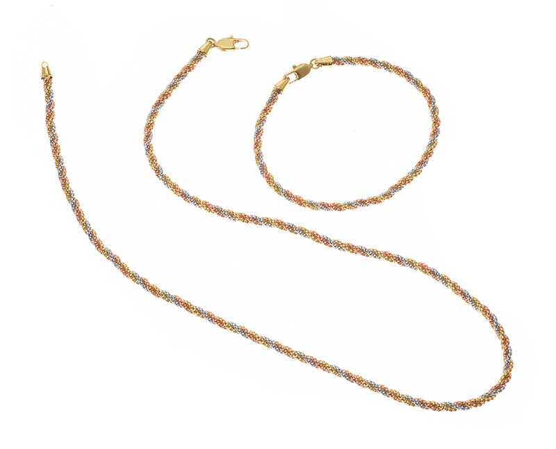 Lot 20 - 18CT TRI-COLOURED GOLD NECKLACE AND BRACELET SET
