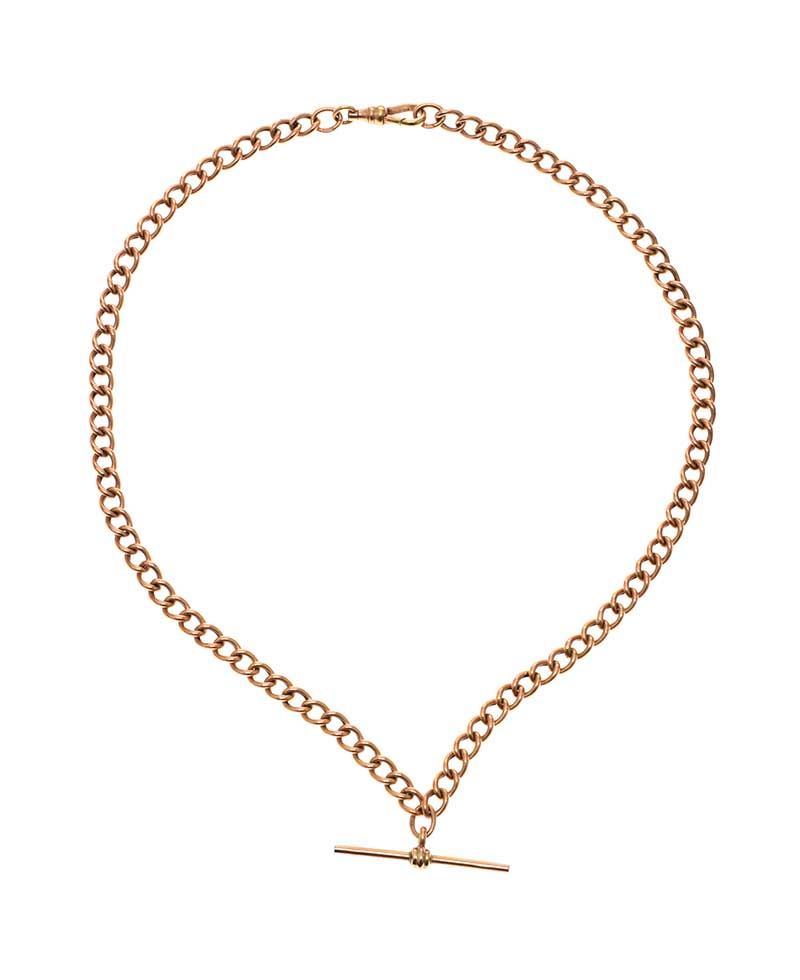 Lot 33 - 9CT ROSE GOLD ALBERT CHAIN