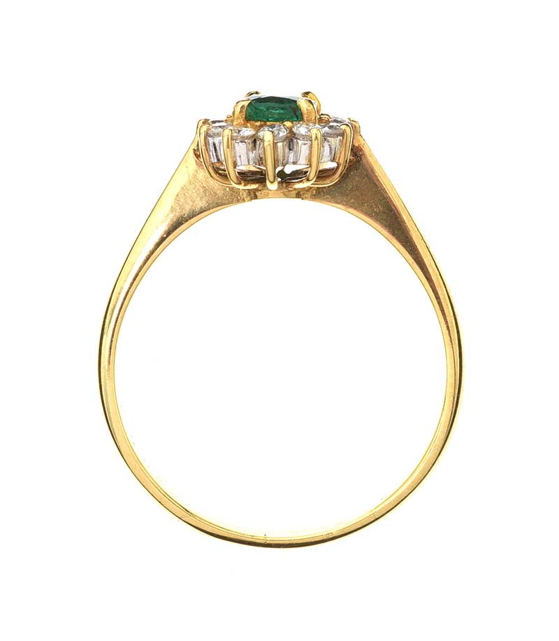 Lot 10 - 18CT GOLD EMERLAD AND DIAMOND RING