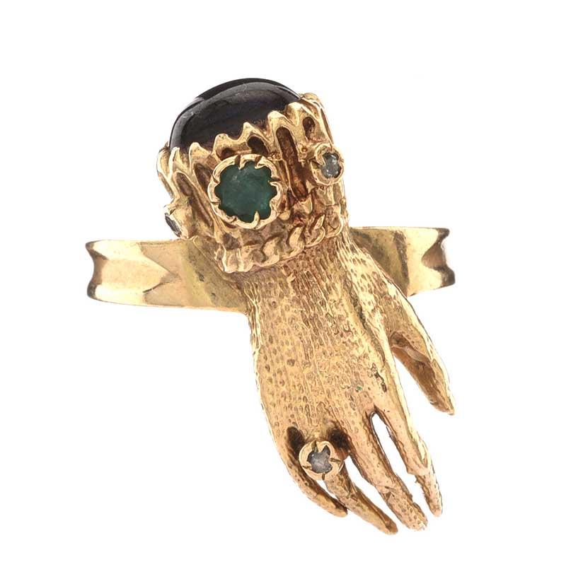 Lot 21 - 9CT GOLD HAND RING CARNELIAN AND SEMI PRECIOUS STONE