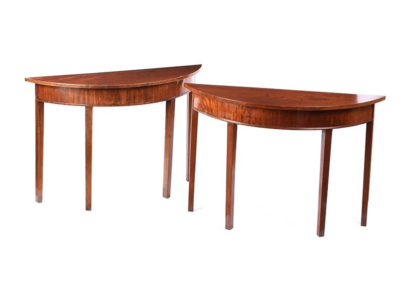 Lot 51 - PAIR OF ANTIQUE DEMI LUNE HALL TABLES