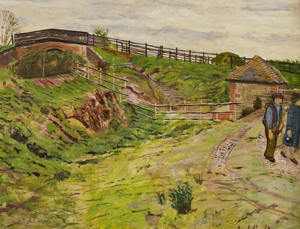 Lot 209 - Carel Weight CH CBE RA, British 1908-1997- Two figures in a rural landscape; oil on board, signed,