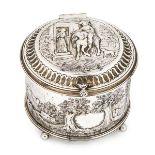 WITHDRAWN A George III circular lidded box, London c.1799, Thomas Hannan & John Crouch II, chased w
