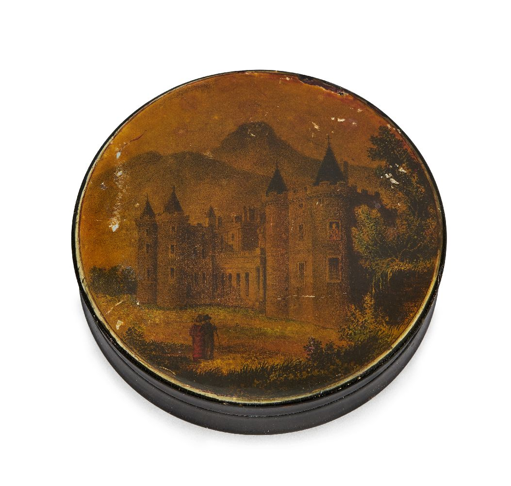 Lot 92 - A Continental circular lacquered papier mâché box, late 19th century, printed and coloured to the