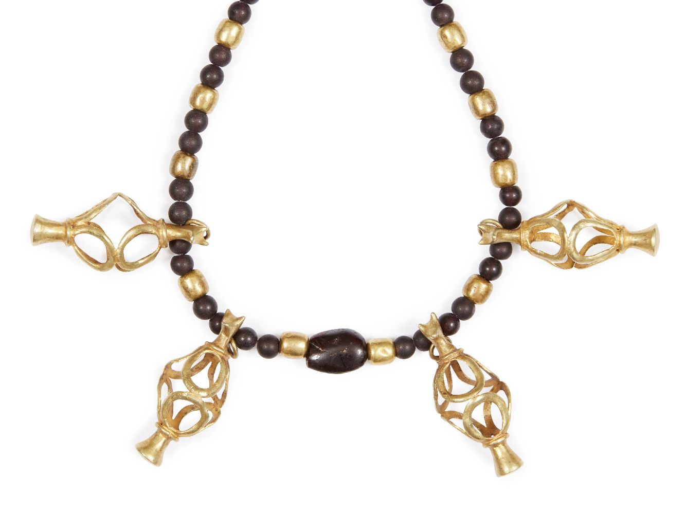 Lot 78 - A composite ancient and modern glass, garnet and gold necklace with openwork vase elements, the