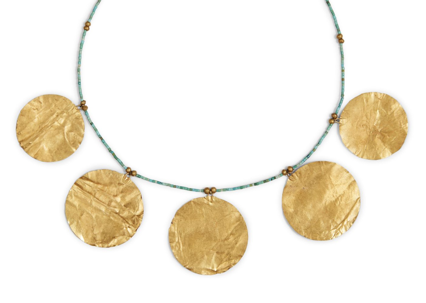 Lot 44 - An ancient and modern sheet gold and turquoise necklace, comprised of five large flat gold discs
