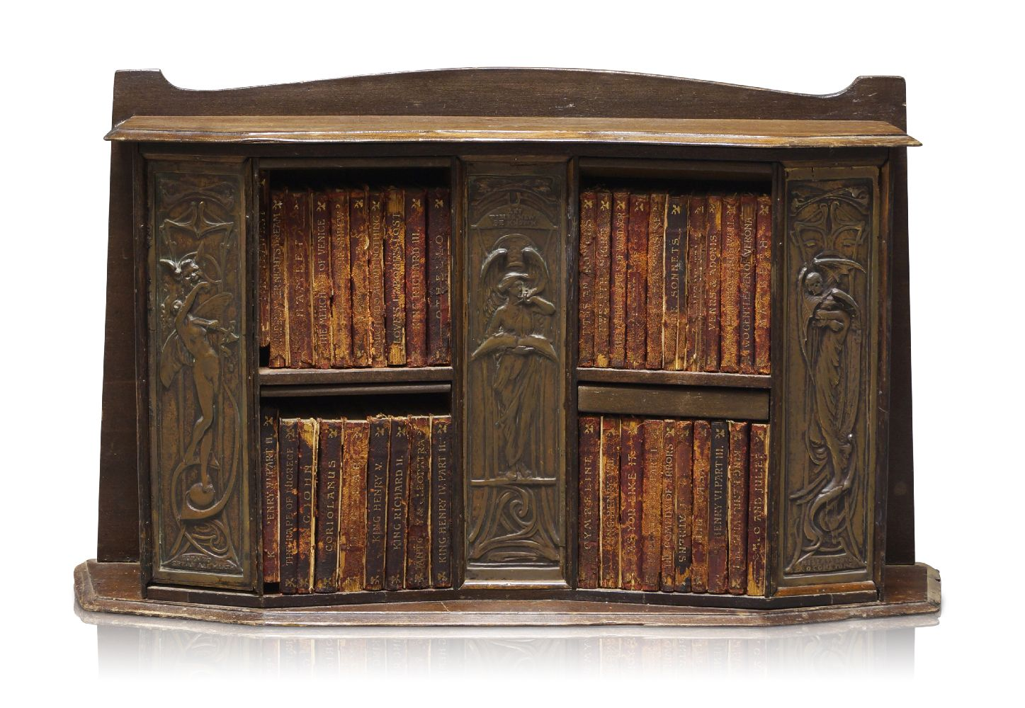 Lot 35 - A small Arts & Crafts stained pine Book case with Forty works by William Shakespeare c.1897 The
