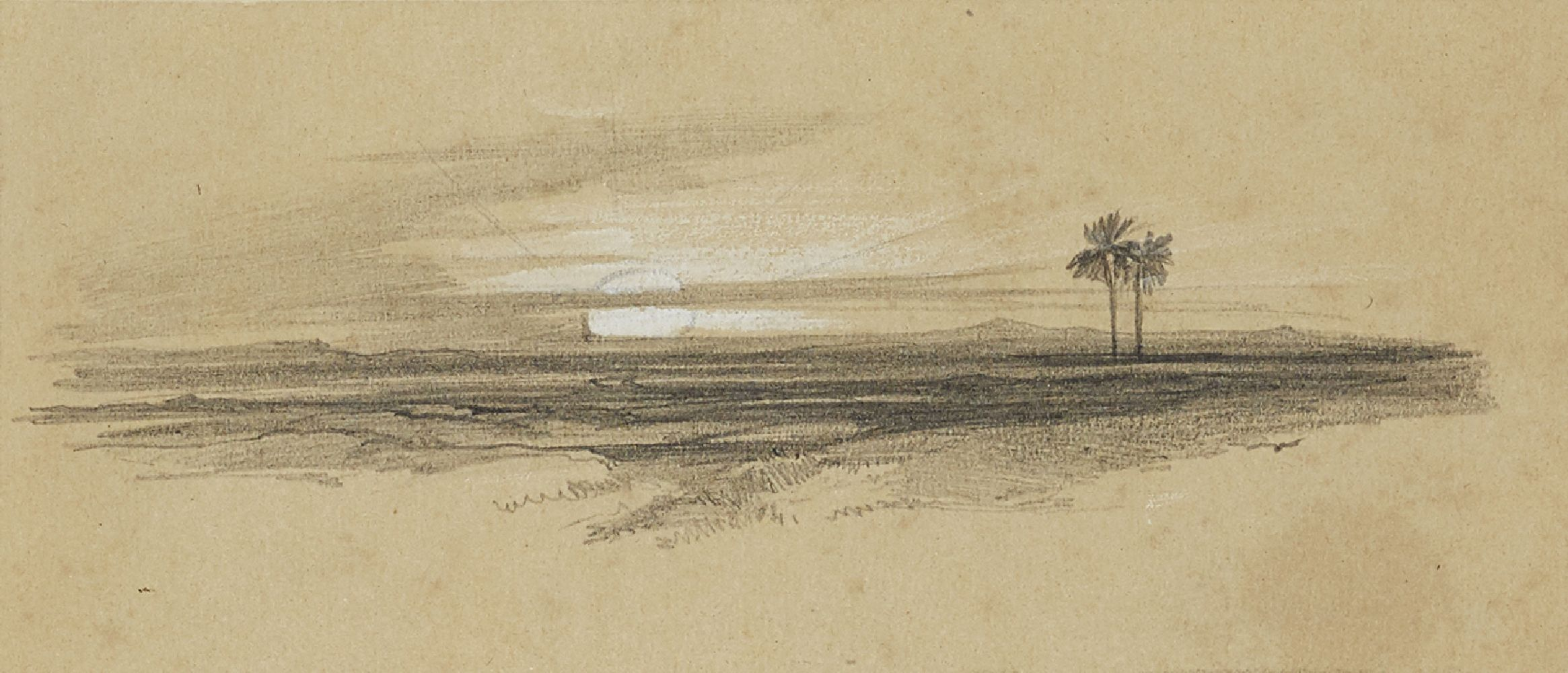 Edward Lear, British 1812-1888- Sunset over a desert landscape; pencil heightened with white on buff