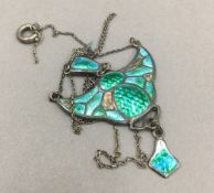 A Charles Horner silver and enamel pendant