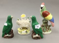 A pair of Chinese porcelain bird figures,
