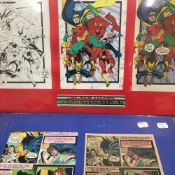 Batman and The New Titans, hand painted comic production art by Adrienne Roy,