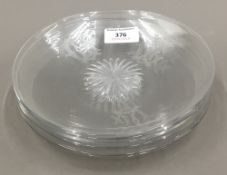 Six 19th century monogrammed cut crystal glass plates