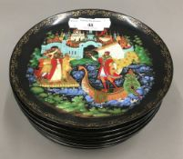 A set of nine Russian collectors plates painted by Galina Ziriakowa with legends by Pushkin,