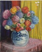 HAROLD WATSON (20th century) British, Still Life of Flowers in a Vase, oil on board,