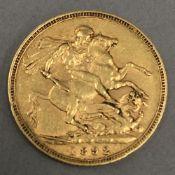 A Victorian sovereign,