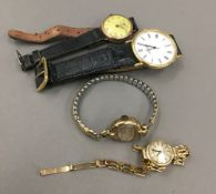 A 9 ct gold cased lady's wristwatch (11.9 grammes total weight), another 9 ct gold cased (17.