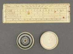 A 19th century ivory pocket compass and a J.