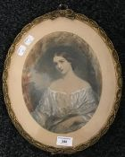 A 19th century portrait print, oval framed and glazed,