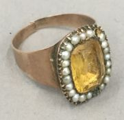 A 19th century seed pearl set ring