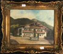 CONTINENTAL SCHOOL (20th century), Chalet, oil on board,