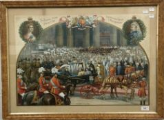 A Victorian lithograph print, The Queen at St.