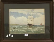 E W TAYLOR, Shipping in Choppy Waters, watercolour, signed,