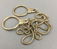 A 9 ct gold mounted key chain (20 grammes total weight)
