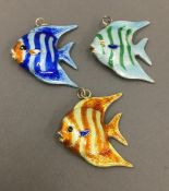 Three Chinese silver and enamel fish pendants
