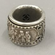 A Chinese silver archers ring