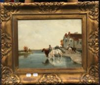 After JULES VEYRASSAT (1828-1893) French, Horses Watering, oil on panel, bears signature,