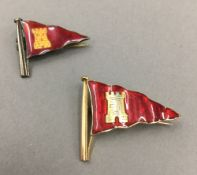A 9 ct gold and enamelled Island Sailing Club badge and another probably silver (4.3 and 3.