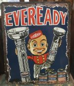 A pictorial enamel advertising sign for Eveready Batteries