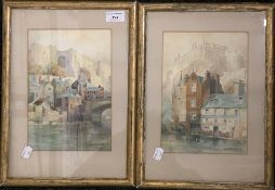 W CROZIER, two Victorian watercolours,