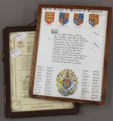 A life-saving Scouts enrolment card together with a Kings and Queens of England print
